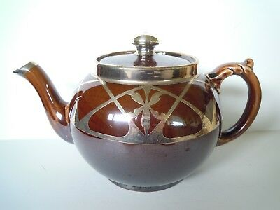 Antique Art Deco Dark Brown Teapot with Silver Overlay