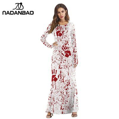 Funky Halloween Dress 2019 Bloody Print Party Long Dresses Sexy Cosplay Elegant