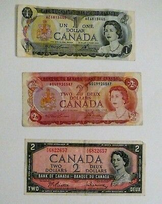 Canada Currency - One and Two Dollar Bills
