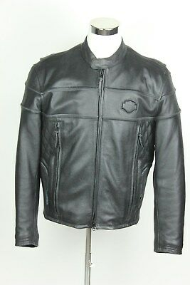 Harley Davidson Men's Black Leather Motorcycle Riding Jacket with venting Size L