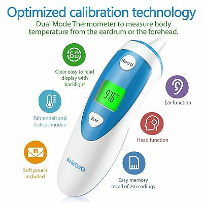 ANKOVO Thermometer for Fever Digital Medical Infrared Forehead and Ear NEW