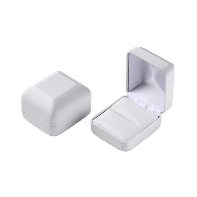 White Faux Leather Ring Box - Length 2-1/8 x Width 1-7/8 x Height 1-1/2 Inches