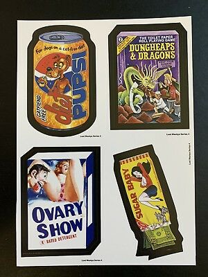 Very Rare LOST WACKY PACKAGES Series 4 QUAD BLOCK Ovary Show & Sugar Baby