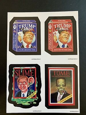 Very Rare LOST WACKY PACKAGES Series 4 QUAD BLOCK Trump Red & Blue