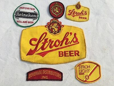 Vintage Lot of 6 Beer Work Shirt Uniform Patches embroidered large Strohs