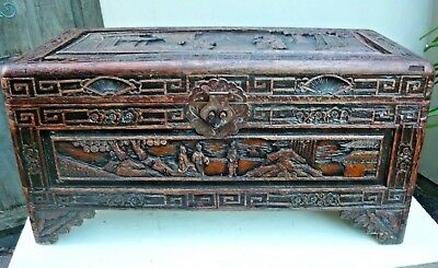 Antique heavily carved Chinese/Japanese? wooden trunk. Needs restoration.