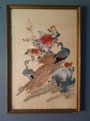 """Peacock pair asian silk embroidery  vintage framed with glass 24 x 16 """""""