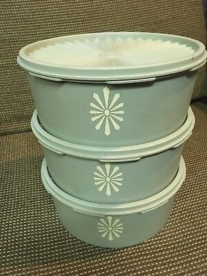 Lot of 3 VINTAGE TUPPERWARE AVOCADO GREEN STACKABLE ROUND CANISTERS