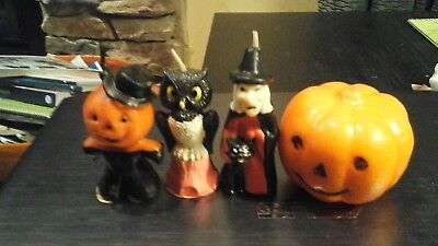 4 Vintage Halloween Gurley Candles witch pumpkin scarecrow owl Unused