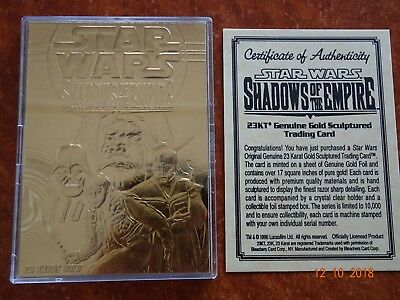 Star Wars Vintage Trilogy 23K Gold Sculptured Trading Card SHADOWS OF THE EMPIRE