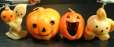 4 Vintage Halloween Gurley Candles witch pumpkin ghost black cat Unused