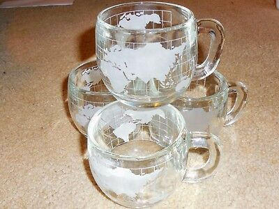 4 VINTAGE 1970's Nestle Nescafe WORLD GLOBE MAP Etched Glass Coffee Mugs Cups