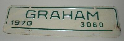 "Vintage 1978, Graham ""3060"" ,North Carolina License Plate Attachment"