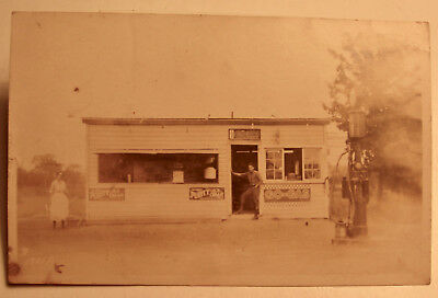 1930's Era Photo Postcard of Early Gas Station & Diner or Convenience Store