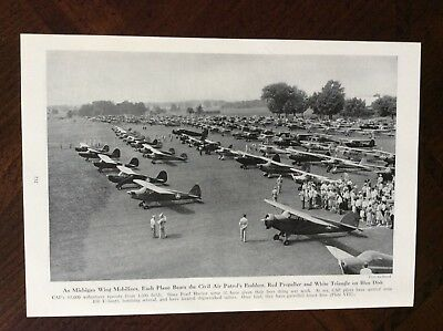 1943 vintage original magazine photo print Michigan Wing Mobalizes WWII