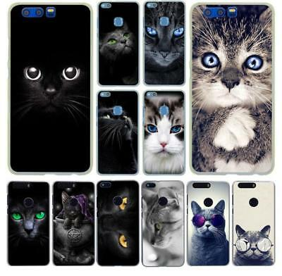 black cat staring Hard Phone Case for huawei Y5 Y6 honor 10 9 8 Lite