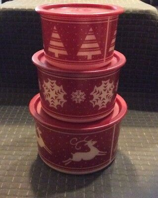 Tupperware Canisters Holiday Christmas Red White Set Of 3 Stacking New