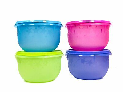 Tupperware Set of 4 Twinkle Bowl 1.1L Food Container Blue Pink Green Purple New