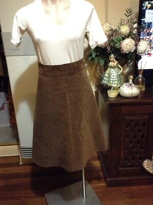 Vintage Brown Corduroy Flared Skirt Wide Band Side Zipper Size 8-10