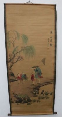 Old Collection Scroll Chinese Painting /Gentleman&Children Painting