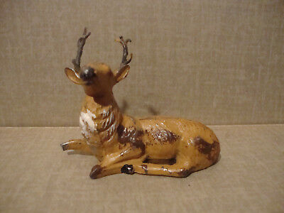 Antique Putz lead deer stag elk metal reindeer German Christmas