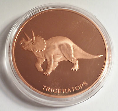 """Triceratops 1 OZ Pure 999.0 Copper Bullion Dinosaur Coin """"4 To Collect"""""""