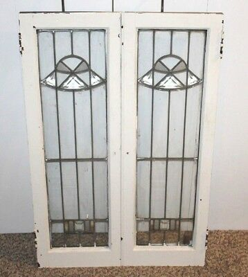 2 Rare Antique Artistic Leaded Glass Stained Glass 12 1/2 x 37 3/4 Cabinet Doors