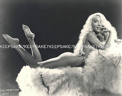 STRIPTEASE DANCER LILLY CHRISTINE LEGGY NUDE ON A FUR BAREFOOT 8x10 PHOTO S-LC2