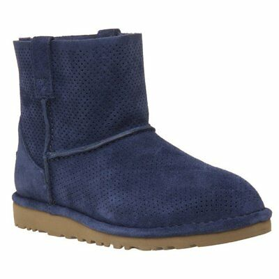 db48eb6330c NEW WOMENS UGG® BLUE CLASSIC UNLINED MINI PERF SUEDE BOOTS ANKLE ...