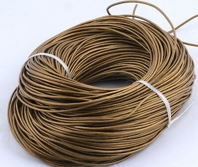100% Real Round Natural Brown Leather Cord 2MM String Thong Jewelry