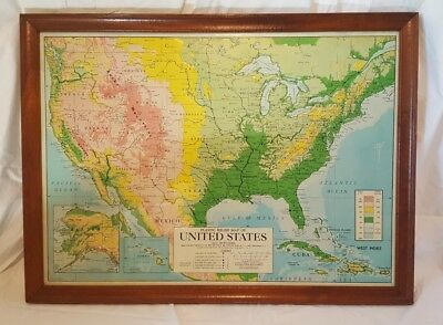 Raised Plastic Educational Relief Map United States America 1963 Framed