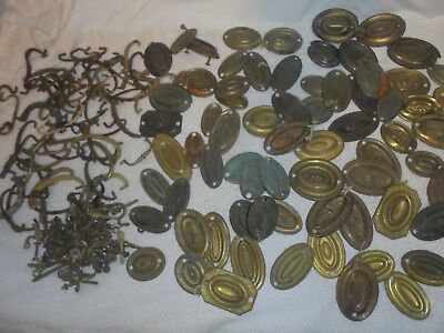 Antique vintage furniture hardware drawer pulls huge lot brass metal ornate