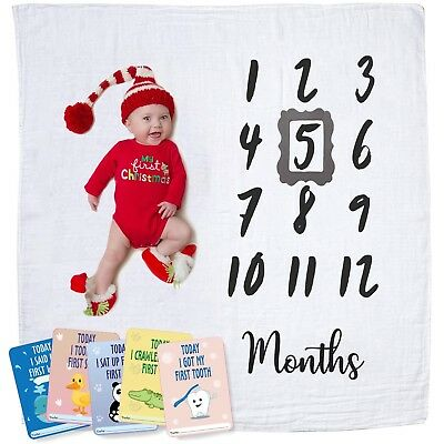 Baby Monthly Milestone Blanket | Newborn Boy & Girl - New Mom Baby Shower Gifts