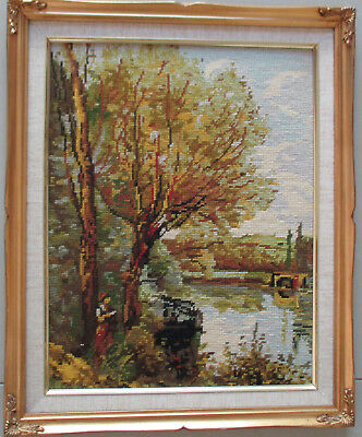 Vintage Retro Completed Needlepoint, Tapestry in nice frame 44cm x 34cm