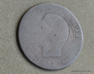 1854  Cinq(5)? Centimes  France Heavily Circulated Napoleon World Coin #prk60