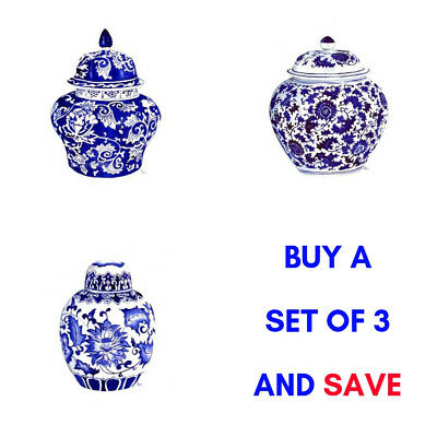 Hamptons Style Set of 3 Wall Print Blue and White Temple Jar Ginger Jar Art New