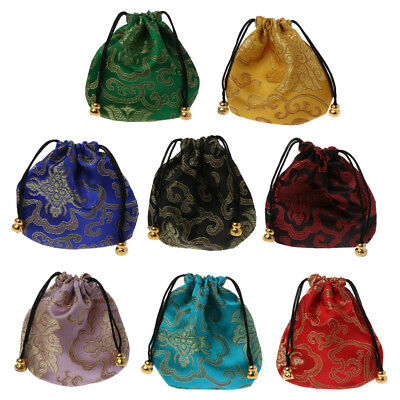 Traditional Silk Travel Pouch Chinese Classic Embroidery Jewelry Bag Organizer