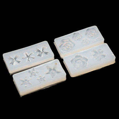 4Pcs Silicone 3D Flowers Cabochon Nail Art Mold UV Expory Resin Jewelry Making
