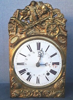 Antique french comtoise clock mechanism brass repousse decor 19th century