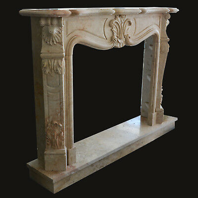 Fireplace Travertine Frame Style Baroque Classic Old Marble Frame for Fireplace
