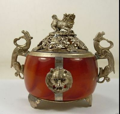 Chinese Old Tibet Silver armored lion dragon incense burner