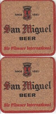 San Miguel Beer - (Thin Cork) Square Coaster - Beer mat