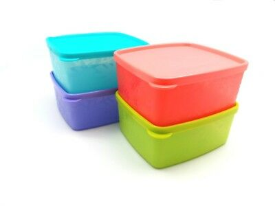 Tupperware Freeze-It Snowflake Small Square Round 1¼-cup 400ml set of 4 New