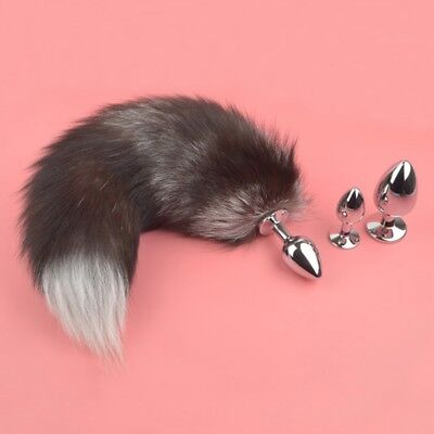 Funny Butt Anal Insert Plug Stopper Slicone Fox Tail Adult Toy Game Cosplay Tool