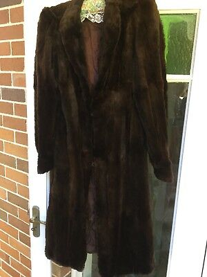 Ladies Vintage Long Fur Coat, Dark Brown, Lined, Med, 40- 50's,