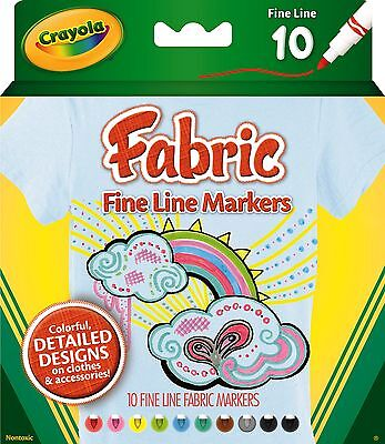 Crayola Fineline Fabric Markers - 10 pack