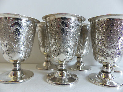 SUPERB SET of 6 ANTIQUE PERSIAN SOLID SILVER GOBLETS CUPS