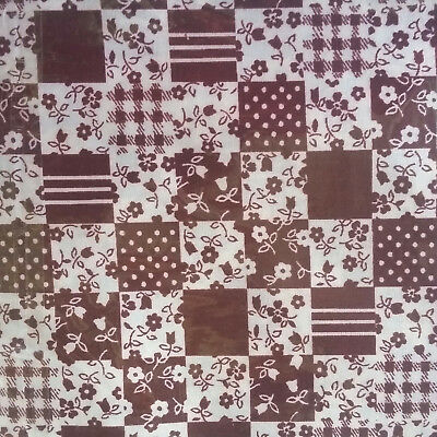 FABRIC Cotton Brown white Floral Cotton Retro Patchwork fabric 102x46 in