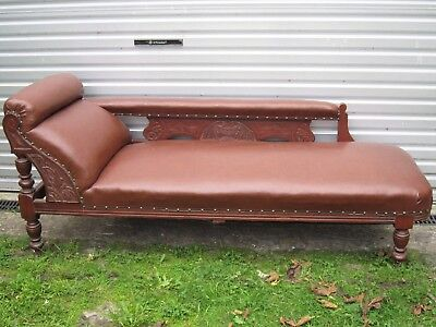 Antique carved solid wood chaise longue
