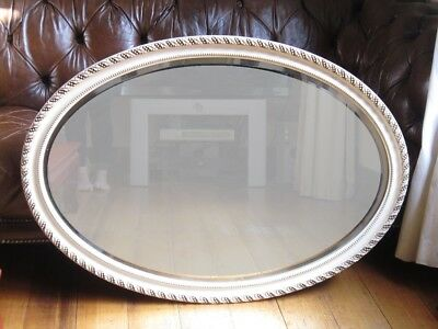 Vintage White Painted Wall Hanging Bevelled Mirror